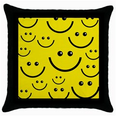 Linus Smileys Face Cute Yellow Throw Pillow Case (black) by Mariart