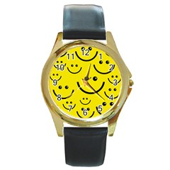 Linus Smileys Face Cute Yellow Round Gold Metal Watch by Mariart