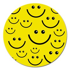 Linus Smileys Face Cute Yellow Magnet 5  (round) by Mariart