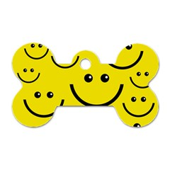 Linus Smileys Face Cute Yellow Dog Tag Bone (two Sides) by Mariart
