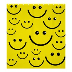 Linus Smileys Face Cute Yellow Shower Curtain 66  X 72  (large)  by Mariart