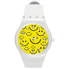 Linus Smileys Face Cute Yellow Round Plastic Sport Watch (m) by Mariart