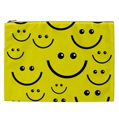 Linus Smileys Face Cute Yellow Cosmetic Bag (xxl)  by Mariart