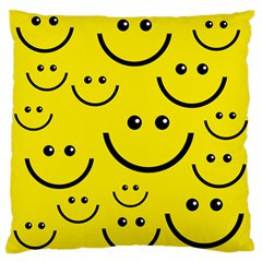 Linus Smileys Face Cute Yellow Large Flano Cushion Case (one Side) by Mariart