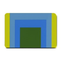 Plaid Green Blue Yellow Small Doormat  by Mariart
