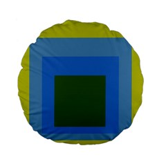 Plaid Green Blue Yellow Standard 15  Premium Flano Round Cushions by Mariart
