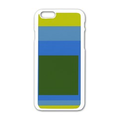Plaid Green Blue Yellow Apple Iphone 6/6s White Enamel Case by Mariart