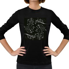 Floral Design Women s Long Sleeve Dark T Shirts by ValentinaDesign