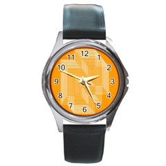 Orange Line Plaid Round Metal Watch by Mariart