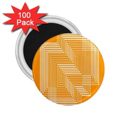 Orange Line Plaid 2 25  Magnets (100 Pack)  by Mariart