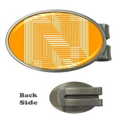 Orange Line Plaid Money Clips (oval)  by Mariart