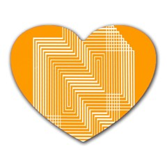 Orange Line Plaid Heart Mousepads by Mariart