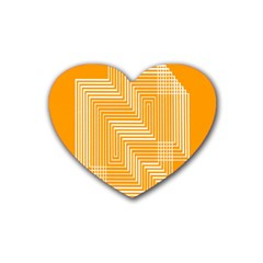 Orange Line Plaid Rubber Coaster (heart)  by Mariart