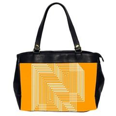 Orange Line Plaid Office Handbags (2 Sides)  by Mariart