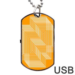 Orange Line Plaid Dog Tag Usb Flash (two Sides) by Mariart