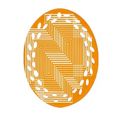 Orange Line Plaid Oval Filigree Ornament (two Sides) by Mariart