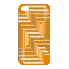 Orange Line Plaid Apple Iphone 4/4s Hardshell Case by Mariart