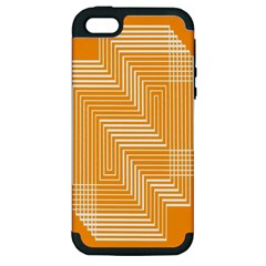 Orange Line Plaid Apple Iphone 5 Hardshell Case (pc+silicone) by Mariart