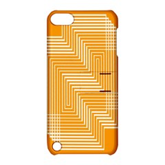 Orange Line Plaid Apple Ipod Touch 5 Hardshell Case With Stand by Mariart