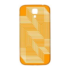Orange Line Plaid Samsung Galaxy S4 I9500/i9505  Hardshell Back Case by Mariart