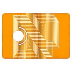 Orange Line Plaid Kindle Fire Hdx Flip 360 Case by Mariart