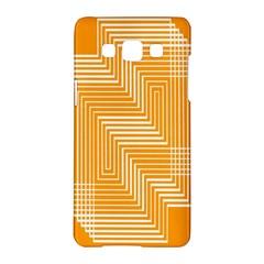 Orange Line Plaid Samsung Galaxy A5 Hardshell Case  by Mariart