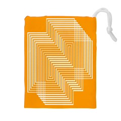 Orange Line Plaid Drawstring Pouches (extra Large) by Mariart