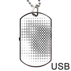 Polka Circle Round Black White Hole Dog Tag Usb Flash (one Side) by Mariart