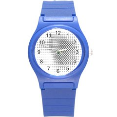 Polka Circle Round Black White Hole Round Plastic Sport Watch (s) by Mariart
