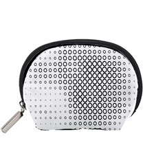Polka Circle Round Black White Hole Accessory Pouches (small)  by Mariart