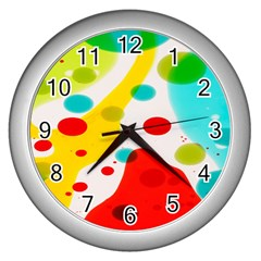 Polkadot Color Rainbow Red Blue Yellow Green Wall Clocks (silver)  by Mariart