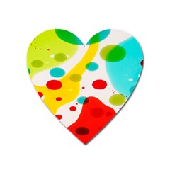 Polkadot Color Rainbow Red Blue Yellow Green Heart Magnet by Mariart