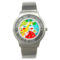 Polkadot Color Rainbow Red Blue Yellow Green Stainless Steel Watch by Mariart