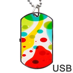 Polkadot Color Rainbow Red Blue Yellow Green Dog Tag Usb Flash (two Sides) by Mariart