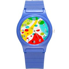 Polkadot Color Rainbow Red Blue Yellow Green Round Plastic Sport Watch (s) by Mariart