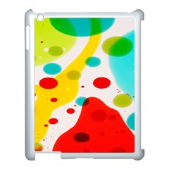 Polkadot Color Rainbow Red Blue Yellow Green Apple Ipad 3/4 Case (white) by Mariart