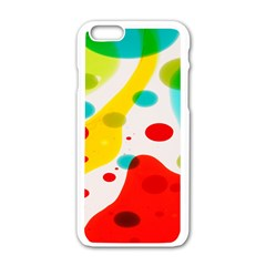 Polkadot Color Rainbow Red Blue Yellow Green Apple Iphone 6/6s White Enamel Case by Mariart