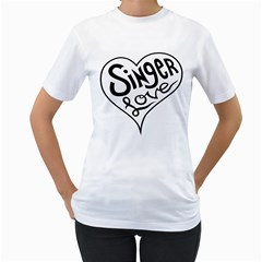 Singer Love Sign Heart Women s T Shirt (white) (two Sided) by Mariart