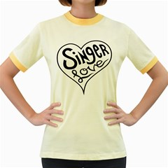 Singer Love Sign Heart Women s Fitted Ringer T Shirts by Mariart