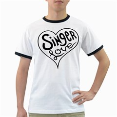 Singer Love Sign Heart Ringer T Shirts by Mariart