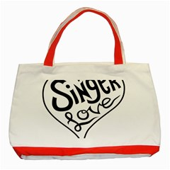 Singer Love Sign Heart Classic Tote Bag (red) by Mariart