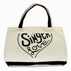 Singer Love Sign Heart Basic Tote Bag (two Sides) by Mariart