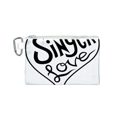 Singer Love Sign Heart Canvas Cosmetic Bag (s) by Mariart