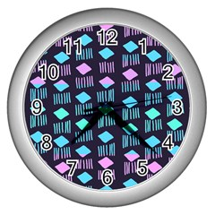 Polkadot Plaid Circle Line Pink Purple Blue Wall Clocks (silver)  by Mariart