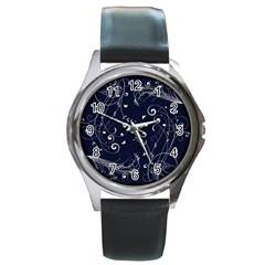 Floral Design Round Metal Watch