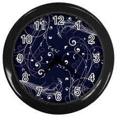 Floral Design Wall Clocks (black)