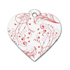 Floral Design Dog Tag Heart (one Side) by ValentinaDesign