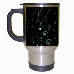 Floral Design Travel Mug (silver Gray) by ValentinaDesign