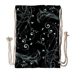 Floral Design Drawstring Bag (large) by ValentinaDesign
