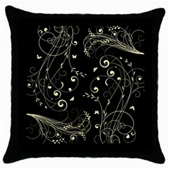 Floral Design Throw Pillow Case (black) by ValentinaDesign